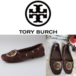 Tory Burch Alexandra Logo Moccasins with Fringe